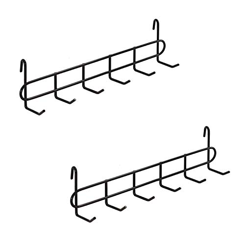 "FRIADE Black Grid Hooks Rack for Wall Grid Panel,Hanging Hooks for Wall Grid Storage and Display,Size 10.7""x 2.8""x1.8 "",2 Pack"