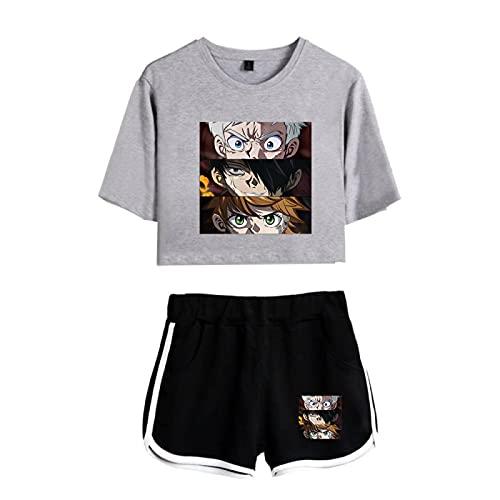 The Promised Neverland Crop Tops y Shorts Outfits para Mujeres Niñas, Summer Emma Norman Ray Conjuntos de Pijamas Sueltos Ocasionales de Loungewear