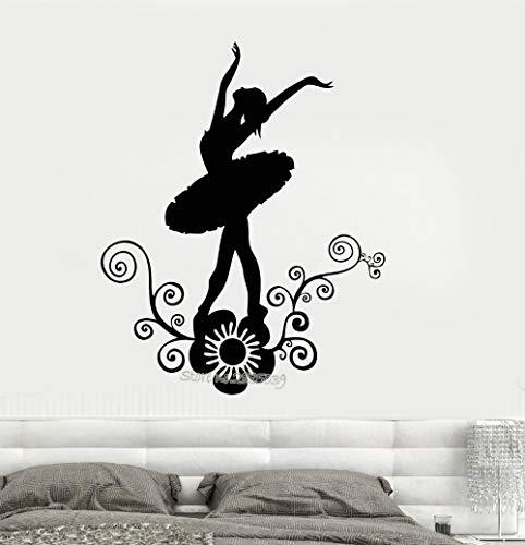 Sanzangtang Ballerina, dans, vinyl, afneembaar, muursticker, voor kinderkamer, meisjes, bloemen, zelfklevend, decoratie