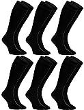 Rainbow Socks - Hombre Mujer Calcetines Largos de Bambu - 6 Pares - Negro - Talla: EU 39-41