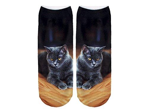 Unbekannt Socken bunt mit lustigen Motiven Print Socken Motivsocken Damen Herren ALSINO, Variante wählen:SO-L043 Katze