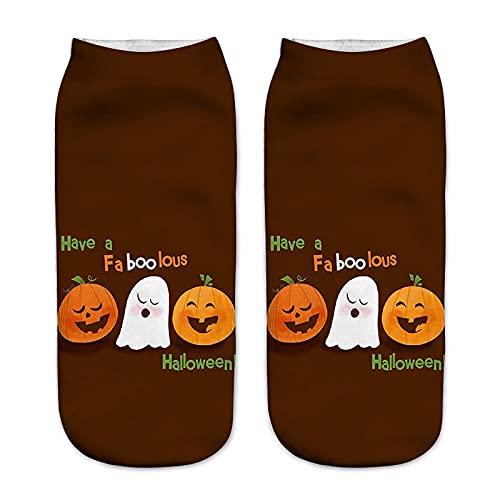YWLINK Calcetines De Negocios De Trabajo 3D Halloween Patrones De ImpresióN Medianos Calcetines De Tobillo Calcetines Antideslizante Suave Y Transpirable Calcetines De AlgodóN (F1, M)