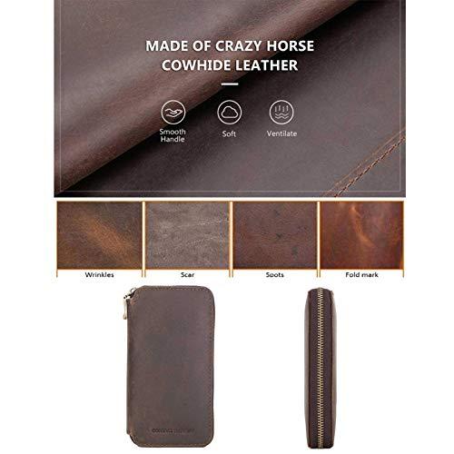 iBoosila Estuche de piel para reloj y pulsera, accesorio de viaje portátil, bolsa de piel, para hombre y mujer, caja de almacenamiento, duradera, color café