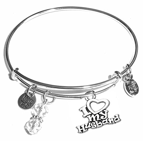 Women's Stainless Steel Message Charm Expandable Wire Bangle Bracelet, Very Popular and Stylish, Arrives in a Gift Box. (I love my husband)