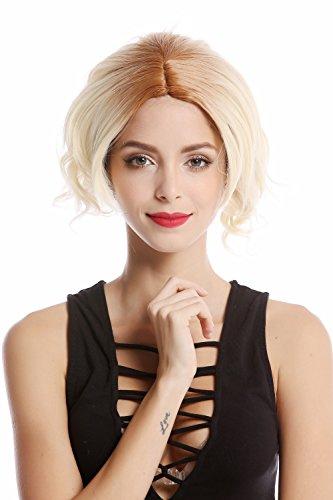 WIG ME UP - YZF-4359-613 Perruque dame courte carré blond platine mélange blond ondulée raie centrale