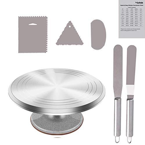 Yizish, alzatina girevole per torte, con spatola in acciaio inox per applicare e stendere la glassa 7pcs set Aluminum Alloy Argento