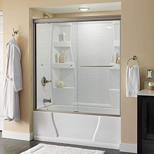 Delta Shower Doors SD3927410 Classic Semi-Frameless Traditional Sliding Bathtub 60' x58-1/8, Nickel Track