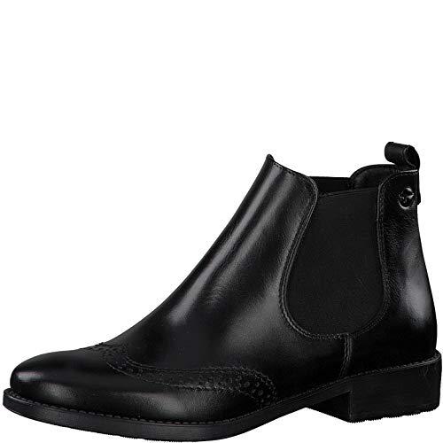 Tamaris Damen Stiefeletten, Frauen Chelsea Boots, geschäftlich Stiefel halbstiefel Bootie Schlupfstiefel flach weiblich Lady,Black,41 EU / 7.5 UK