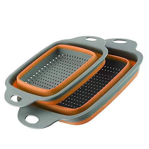 HYDT Faltbare Silikonfilter Frucht- und Gemüsewaschkorb Faltungsfilter mit Griff Küchenwerkzeuge g (Color : Naranja)