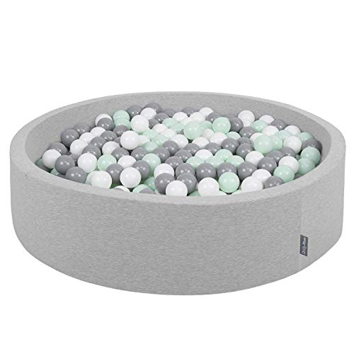 KiddyMoon Bällebad 120X30cm/200 Bälle Rund Groß Bällepool Mit Bunten Bällen Für Babys Kinder, Hellgrau:Weiß-Grau-Mint
