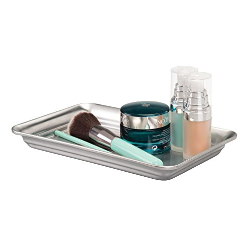 iDesign Metal Vanity Tray, Non-Slip Guest Towel Board for Bathroom, Kitchen, Office, Craft Room, Countertops, Closets, 6.5 x 10 x 1, Brushed Stainless Steel