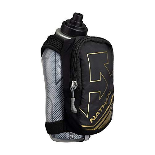 Nathan SpeedDraw Plus Isolierflasche, Handlauf-Wasserflasche, grifffrei, für Läufer, Wandern etc. (Schwarz/Metallic Gold)