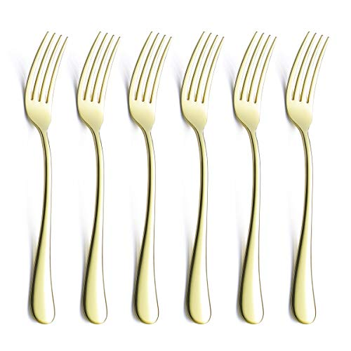 Salad Dessert Forks Set For 6 Piece Champagne Gold 18/0 Stainless Steel 6.9 Inch Silverware Flatware Small Dinner Appetizer Fork Only Serving for 6 Modern Eating Cutlery Open Stock Bulk