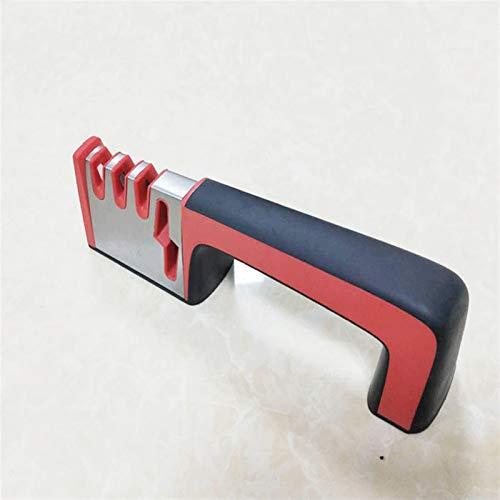 Hogar cuchillo de acero inoxidable afilador multifunción mango de la herramienta tijeras de cocina cuchillo de cocina de hoja de afilador rápida (Color : Red Black)