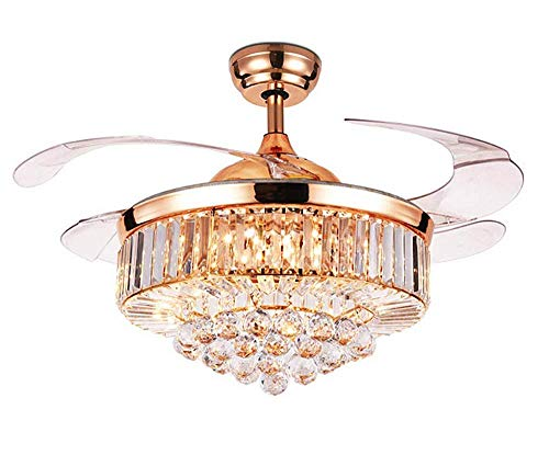 RuiWing 42' Indoor Crystal Ceiling Fan with LED Light and...