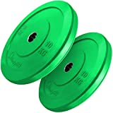 BodyRip 2' Olympic Bumper Weight Plates | Military or Bench Press, Squats, Deadlift, Pullover, Biceps Curl, Triceps Extension, Row, Shrug (2x10kg)