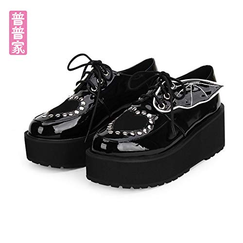 XWHKX Zapatos Lolita Girl Punk Wings