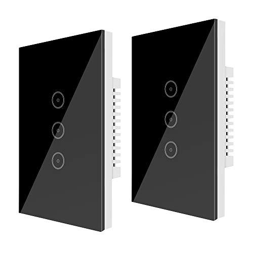 Wifi (2 Packs) Smart Light Switch 3 Gang Jinvoo US Panel Switch, Smart Touch Switch, Smart Phone Remote Vetro Temperato, Timer, Nessun Hub richiesto,