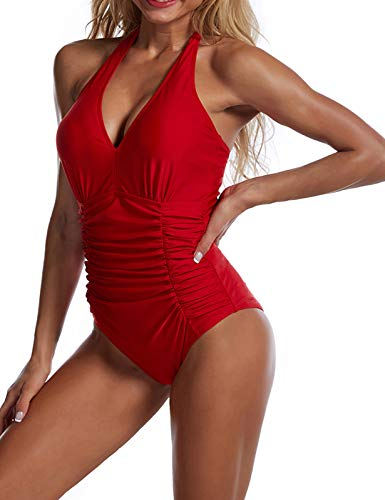 Halter Ruched Swim Suits Womens One Piece Bathing Suits Red Padded Beach Wear M