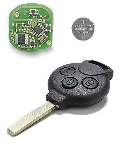 Shoppy Lab Compatible Key Shell Cubierta de Control Remoto 3 Botones Reemplazo Smart Fortwo 450451 Forfour Roadster Llave Completa con Chip, transpondedor, Hoja y batería