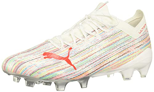 PUMA Mens Ultra 1.2 Firm GroundArtificial Grass Soccer Cleats Cleated,Firm Ground,Turf - Multi,White - Size 10 M