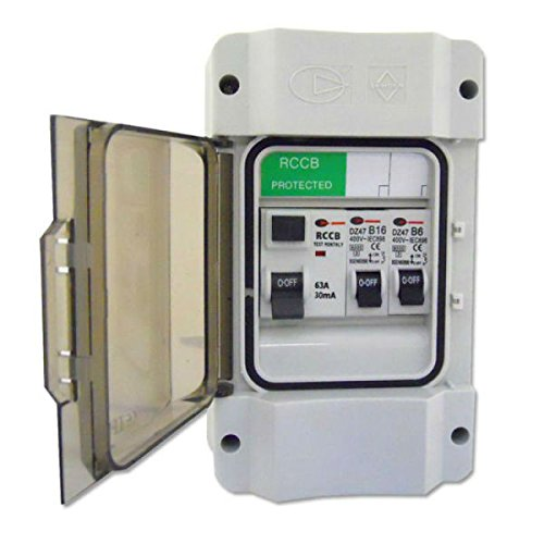 Garage Consumer Unit with 63a/30mA RCD & 1x16amp & 6amp MCB