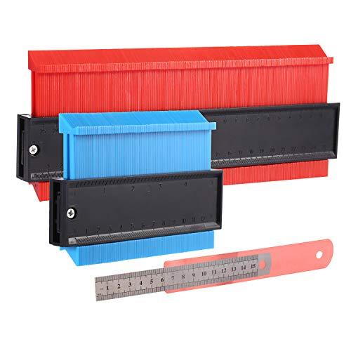 2 Packung Konturenlehre, Konturmesser, Profillehre Lineal Konturvervielfältiger Markierwerkzeug für präzise Messung Fliesen Laminat Holz (10 Zoll Rot 5 Zoll Blau)