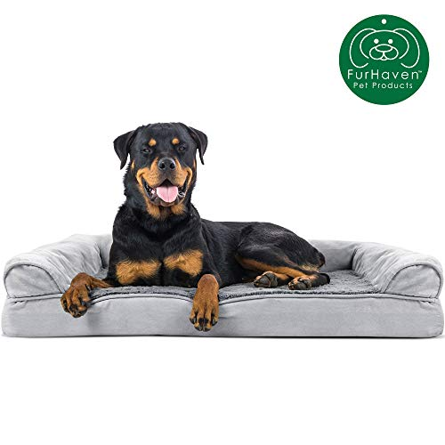 Furhaven Pet Dog Bed | Orthopedic Ultra Plush Faux Fur & Suede Traditional Sofa-Style Living Room Couch Pet Bed w/ Removable Cover for Dogs & Cats, Gray, Jumbo