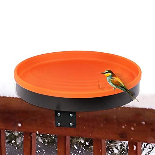 vantiorango Heated Birdbath for Outside, Deck Mount Bird Basin Bowl Heater with Clamp for Winter Balcony Garden Outdoors