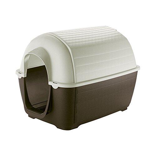 Ferplast Caseta de Exterior para Perros Kenny 01, Resina termoplástica Resistente a los Golpes y a los Rayos UV, Sistema de Drenaje de líquidos, Rejilla de ventilación, 50 x 78 x h 50 cm