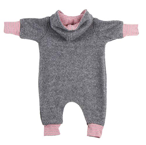 """Lilakind"""" Baby Wollwalk Overall Einteiler mit Kapuze Walkloden Walkoverall Grau Meliert Rosa Gr. 104/110 - Made in Germany - 3"""