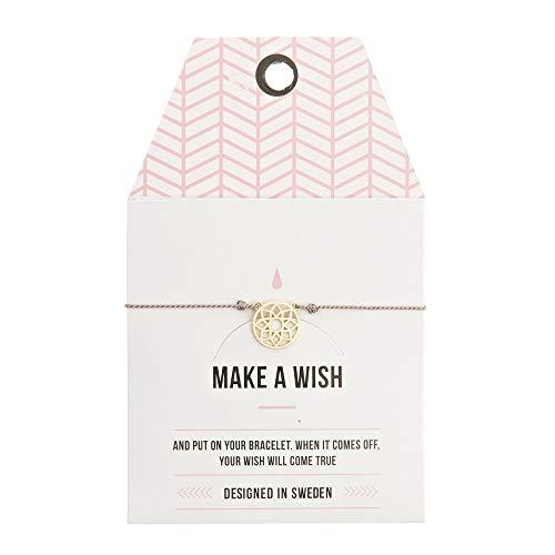 Mint TIMI of Sweden Wunschkarte Mandala Armband Silk Gold grau Grey Freundschaftsarmband Make a Wish