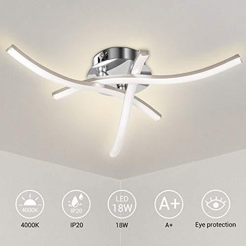 Lureshine LED Deckenleuchte 3 Flammig Moderne Deckenlampe 3x6W 1200LM 4000K Natürliches Licht IP20 Wasserdicht für Gang, Wohnzimmer, Esszimmer, Schlafzimmer usw