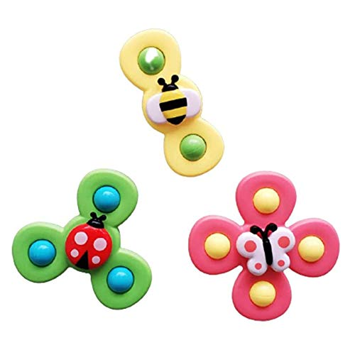 Baby Bath Spinner Toy with Rotating Suction Cup Suction Cup Spinning Top Toy Cartoon Animal Rotating Suction Cups Early Learner Toys for Baby Toys (B)
