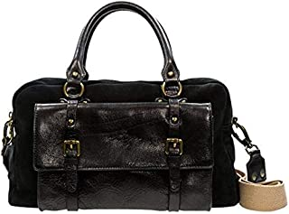 Kaizer KZ1884BLK Top Handle Bag for Women - Leather, Black/Italian Leather Handle Bag for Women /