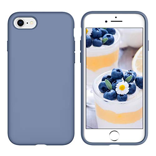 GUAGUA iPhone SE 2020 Case iPhone 8 Case iPhone 7 Case 4.7-inch Liquid Silicone Soft Gel Rubber Slim Thin Microfiber Lining Cushion Texture Cover Protective Case for iPhone 8/7/SE 2020 Lavender Gray