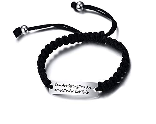 PJ JEWELLERY A True Friendship is a Journey Without an end Stainless Steel Inspirational BFF Bracelet Handmade Braided Rope Wrist Bangle Friendship