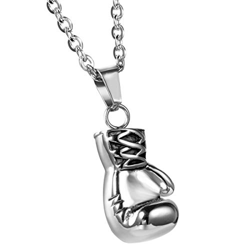 JewelryWe Birthday Valentine Gift Stainless Steel Mens Boxing Glove Pendant Necklace with 22' Chain, Colour Silver Black (with Gift Bag)