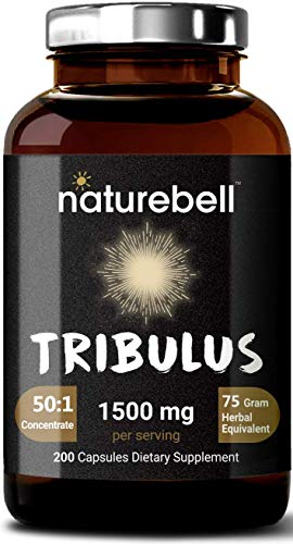 Maximum Strength Organic Tribulus Terrestris Extract 50:1 (Active 60% Saponins), 1500mg Per Serving, 200 Capsules, Testosterone Booster for Libido, Stamina and Energy, No GMOs.