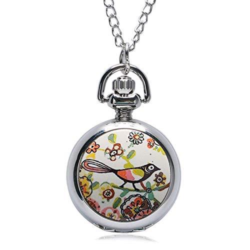 DBSCD Regalos Navidad,Reloj Bolsillo Lucky Colorful Painting Drawing Cute Bird Small Size Quartz Pocket Watch Womens Girl Beautiful Necklace Pendant Chian Gifts