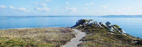 Feliz villa Bretagne - Monon Amour 16 - XL - Cuadro de pared (120 x 40 cm, formato horizontal, panorámico, impresión digital sobre cristal acrílico de 5 mm), color azul y blanco y verde