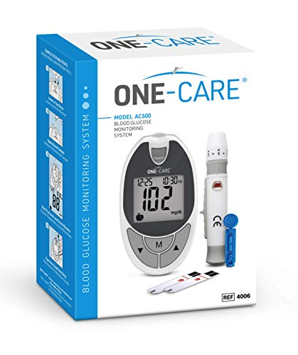 MediVena ONE-CARE Blood Glucose Test Kit of 1 Meter, 10 Test Strips, 1 Lancing Device, 10 Lancets, Carry Case - Blood Glucose Monitoring System with Glucometer and Strips for Testing by Diabetics