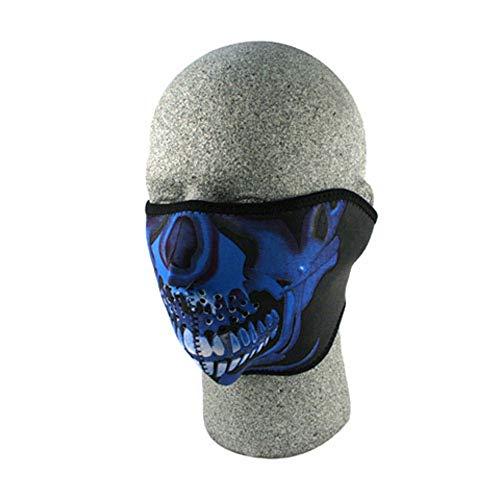 Zan Headgear Half Face Mask Blue Chrome Skull WNFM024H