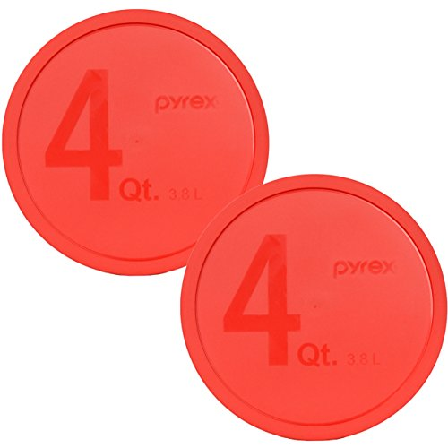 2 Pack of Pyrex 326-PC Red 4 Quart Round Plastic Lids for 4 Quart Mixing Bowl (Not Included)