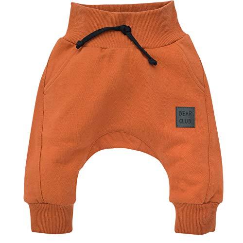 Pinokio - Bears Club - Baby Kinder Jungen Hose 100% Baumwolle Schwarz Braun Pumphose Jogginghose Haremshose Unisex Schlupfhose 62-104 cm (98, Braun)