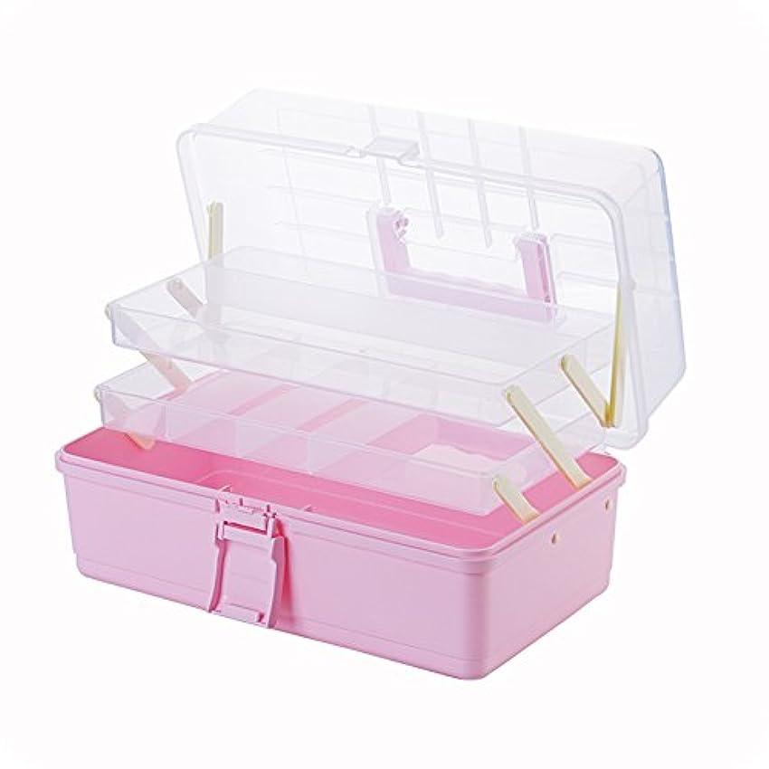 日光手当操作可能KINGZUO 救急ボックス 3段折りたたみ 応急処置ボックス 救急箱 収納ケース 家庭用 プラスチック ピンク クリア