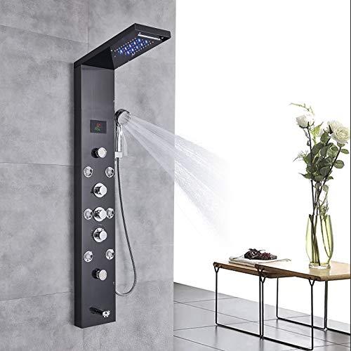 Rozin Edelstahl Duschpaneel LED Duschkopf Niederschlag und Wasserfall LCD Temperatur-Schirm mit Handsprüher Körper Massage Jets Schwarz an der Wand Montiert