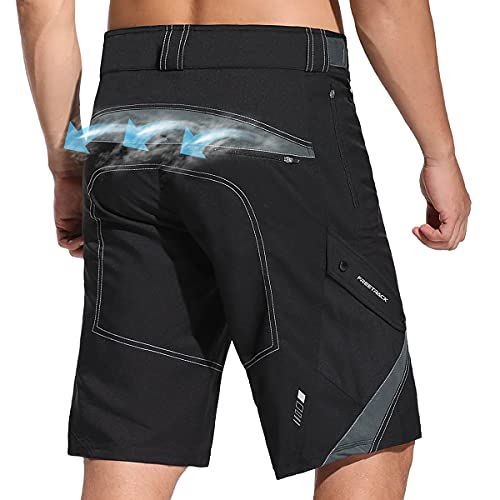 Herren Mountainbike Shorts, Wandern Cargo-Shorts, atmungsaktiv schnell trocknend MTB-Shorts, Baggy Outdoor Fahrrad Radhose, lockere Passform