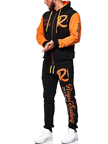 OneRedox Herren Trainingsanzug Jogginganzug Sportanzug Modell 3677 Schwarz Orange XXXXL