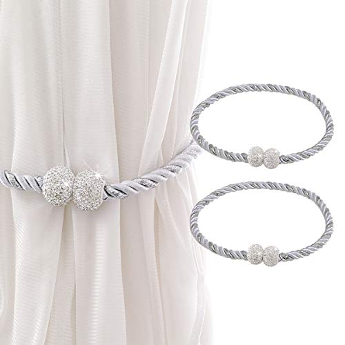 2 Pack Bling Magnetic Curtain Tiebacks Decorative Rope Holdbacks, Crystal Drapery Tie Backs Weave Holder for Window Draperies - Grace, Simplicity & Elegance - 16 inch Curtain Holders (White)